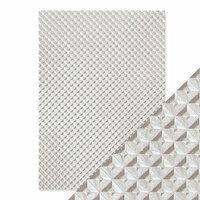 Tonic Studios - Hand Crafted Embossed Cotton Paper - A4 - Silver Chequer - 5 Pack