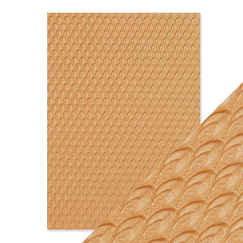Tonic Studios - Hand Crafted Embossed Cotton Paper - A4 - Golden Scales - 5 Pack