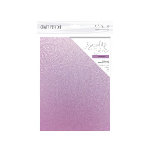 Tonic Studios - Dream In Colour Collection - Craft Perfect - Specialty Card with Embossed Accents - A4 - Lilac Waves - 5 Pack