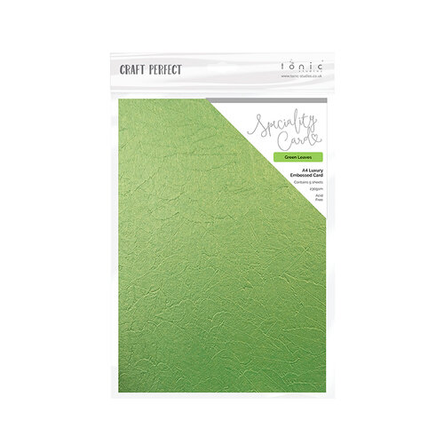 Craft Perfect Luxury Embossed Cardstock A4 5//pkg-green Leaves