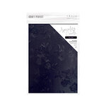 Tonic Studios - Blue Blossom Collection - Craft Perfect - Luxury Embossed Card - A4 - Navy Toile - 5 Pack