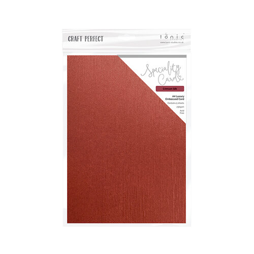 Tonic Studios - Merry and Bright Collection - Craft Perfect - Luxury Embossed Card - A4 - Crimson Silk - 5 Pack