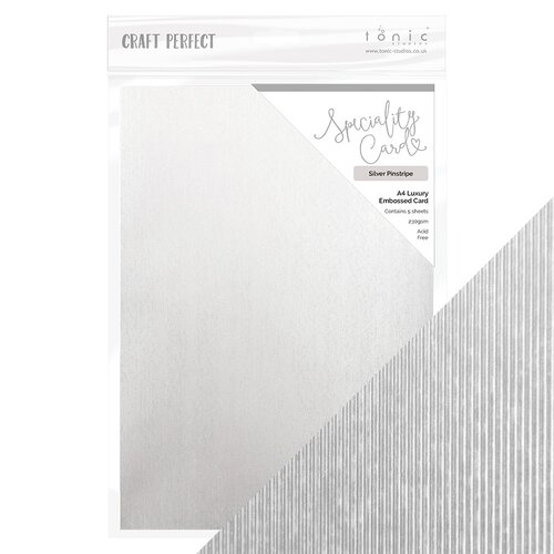 Tonic Studios - White Wonderland Collection - Craft Perfect - 8.5 x 11 Cardstock - Speciality Card - Silver Pinstripe