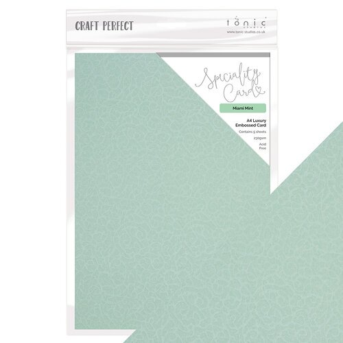 Tonic Studios - Craft Perfect - Luxury Embossed Card - A4 - Miami Mint - 5 Pack