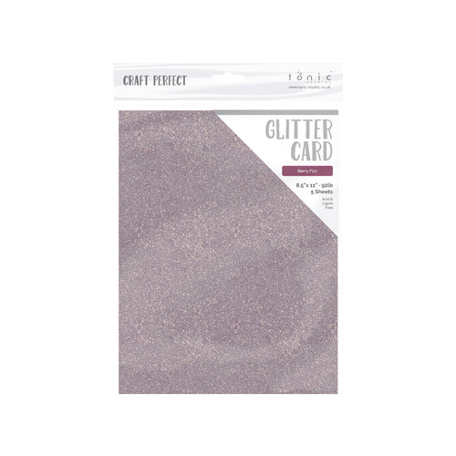 Tonic Studios - Dream In Colour Collection - Craft Perfect - Glitter Card - 8.5 x 11 - Berry Fizz - 5 Pack