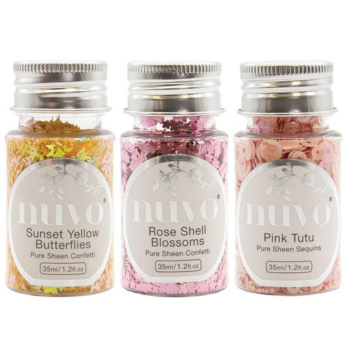 Nuvo - Blue Blossom Collection - Pure Sheen Confetti and Sequins - 3 Pack Set