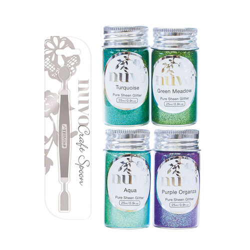Nuvo - Craft Spoon and Pure Sheen Glitter - Peacock Feathers - 5 Pack Set