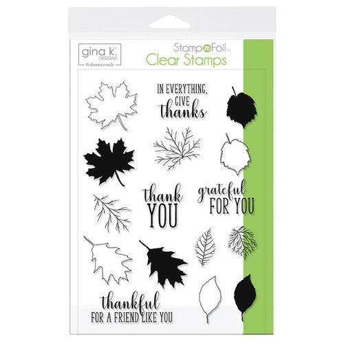 Therm O Web - Stamp n Foil - Clear Acrylic Stamps - Thankful Leaves