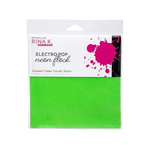 Rina K Designs - 6 x 6 Neon Flock Sheets - Screamin' Green - 6 Pack
