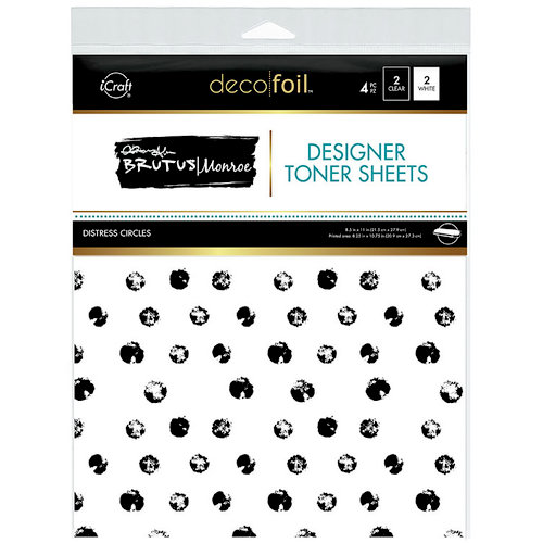 Therm O Web - iCraft - Deco Foil - 8.5 x 11 - Clear Designer Toner Sheets - Distress Circles - 4 Pack