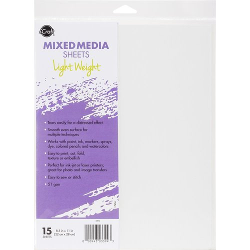 Therm O Web - iCraft - 8.5 x 11 Mixed Media Sheets - Light Weight - 15 Pack