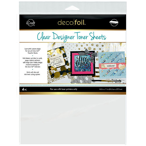 Therm O Web - iCraft - Deco Foil - 8.5 x 11 - Clear Designer Toner Sheets - Printable - 4 Pack