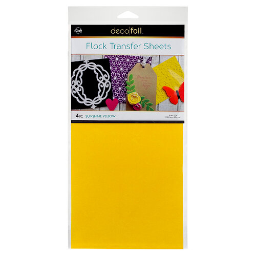Deco Foil - 6 x 12 Flock Transfer Sheets - Sunshine Yellow