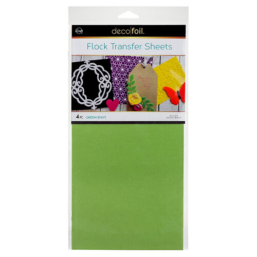 Therm O Web - iCraft - Deco Foil - 6 x 12 Flock Transfer Sheets - Green Envy - 4 Pack