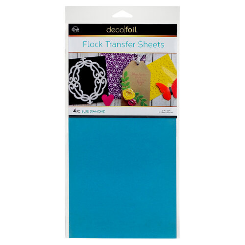 Therm O Web - iCraft - Deco Foil - 6 x 12 Flock Transfer Sheets - Blue Diamond - 4 Pack