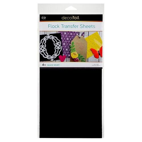 Therm O Web - iCraft - Deco Foil - 6 x 12 Flock Transfer Sheets - Black Velvet - 4 Pack