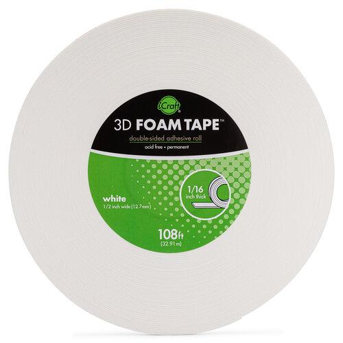 Therm O Web - 3D Adhesive Foam Tape - Jumbo Rolls - White - .5 Inch