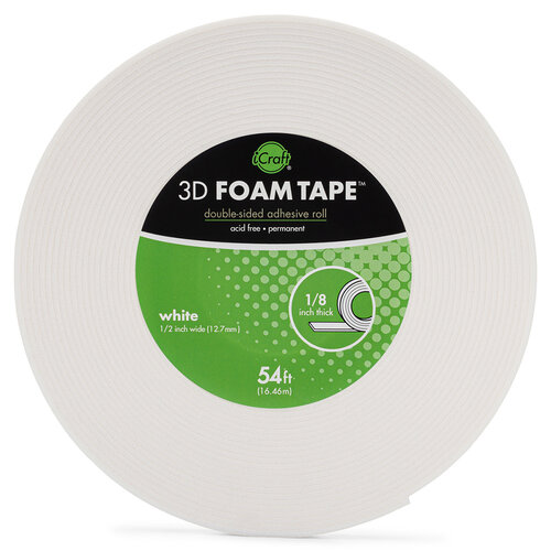 Therm O Web - 3D Adhesive Foam Tape - White - .5 Inch