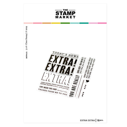 The Stamp Market - Clear Photopolymer Stamps - Extra Extra Stamp Set