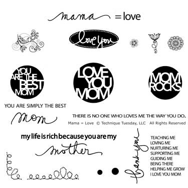 Technique Tuesday - Clear Acrylic Stamps - Mama Equals Love by Ali Edwards