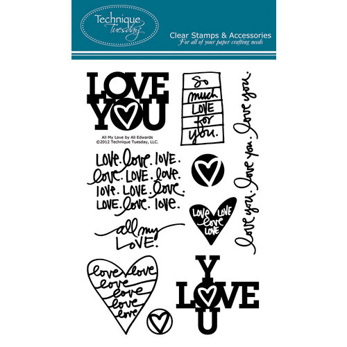 Technique Tuesday - Clear Acrylic Stamps - All My Love by Ali Edwards