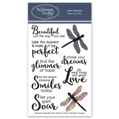 Technique Tuesday - Memory Keepers Studio - Clear Photopolymer Stamps - Beautiful Dragonflies