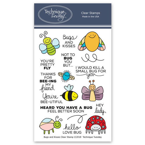 Technique Tuesday - Clear Photopolymer Stamps - Bugs and Kisses