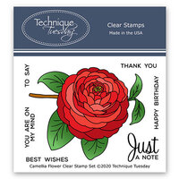 Technique Tuesday - Greenhouse Society Collection - Clear Photopolymer Stamps - Camellia Flower