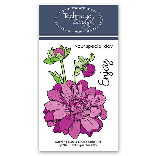 Technique Tuesday - Greenhouse Society Collection - Clear Photopolymer Stamps - Dazzling Dahlia