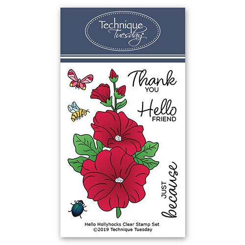 Technique Tuesday - Greenhouse Society Collection - Clear Photopolymer Stamps - Hello Hollyhocks