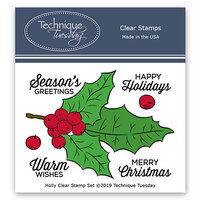 Technique Tuesday - Greenhouse Society Collection - Clear Photopolymer Stamps - Holly