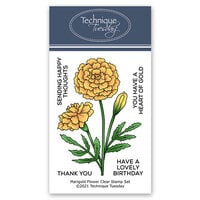 Technique Tuesday - Greenhouse Society Collection - Clear Photopolymer Stamps - Marigold Flower