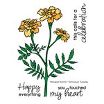 Technique Tuesday - Greenhouse Society Collection - Clear Acrylic Stamps - Marigold