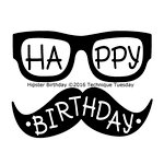 Technique Tuesday - Clear Acrylic Stamps - Hipster Birthday