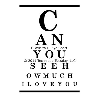 Technique Tuesday - Clear Acrylic Stamps - I Love You Eye Chart