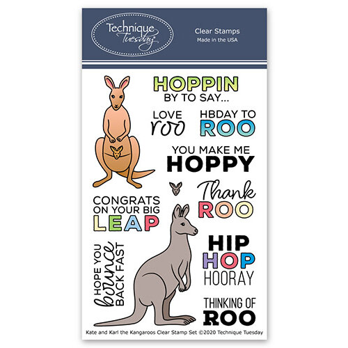 Technique Tuesday - Animal House Collection - Clear Photopolymer Stamps - Kate and Karl the Kangaroos