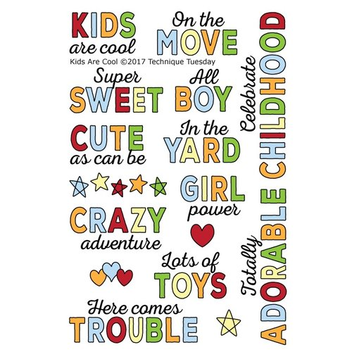 Technique Tuesday - Clear Acrylic Stamps - Kids Are Cool by Ali Edwards