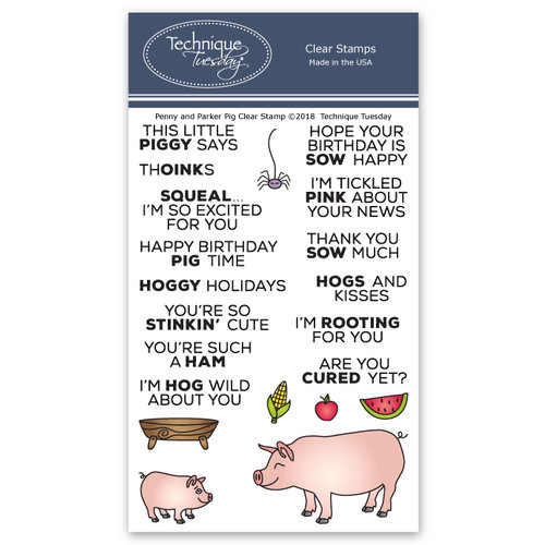 Technique Tuesday - Animal House Collection - Clear Photopolymer Stamps - Parker and Penny Pig
