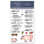 Technique Tuesday - Animal House Collection - Clear Acrylic Stamps - Parker and Penny Pig