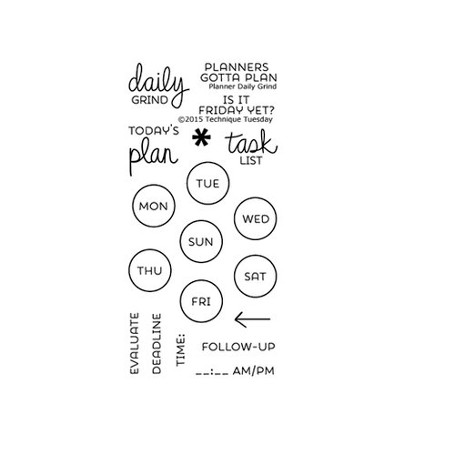 Technique Tuesday - Planner Collection - Clear Photopolymer Stamps - Daily Grind