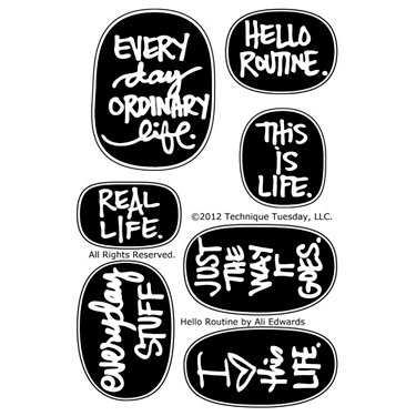 Technique Tuesday - Clear Acrylic Stamps - Hello Routine by Ali Edwards