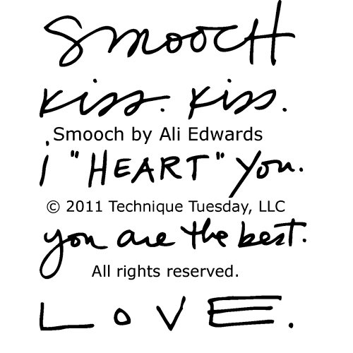 Technique Tuesday - Clear Acrylic Stamps - Smooch by Ali Edwards