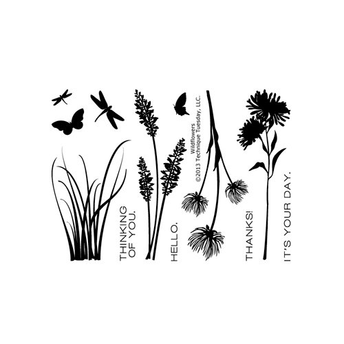 Technique Tuesday - Clear Acrylic Stamps - Wildflowers