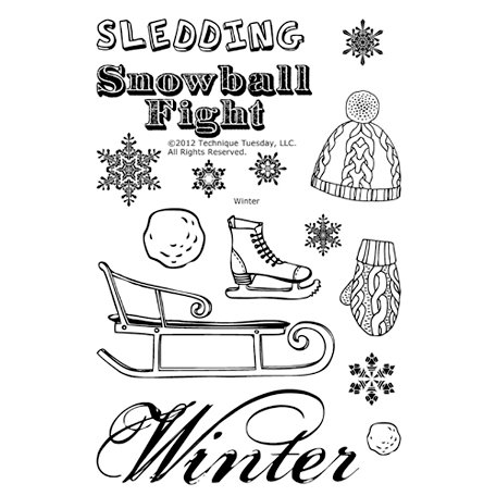 Technique Tuesday - Clear Acrylic Stamps - Winter