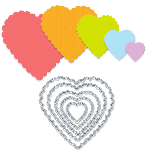 Scrapbook.com - Decorative Die Set - Nested Scalloped Hearts