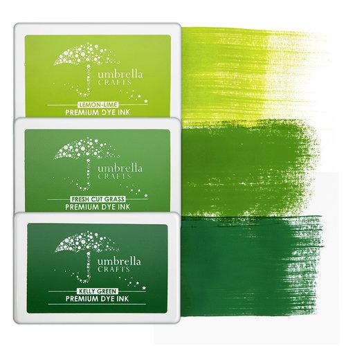 Umbrella Crafts - Premium Dye Ink Pad Kit - Green Trio