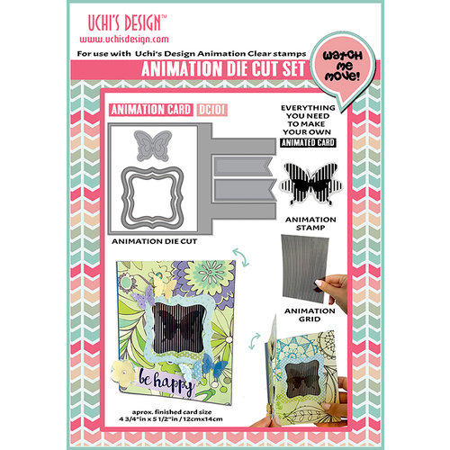 Uchis Design - Animation Die Cut and Clear Acrylic Stamps Combo - Animation Card