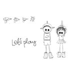 Unity Stamp - Clever Handmade Collection - Itty Bitty - Unmounted Rubber Stamp - Let's Play Aliens