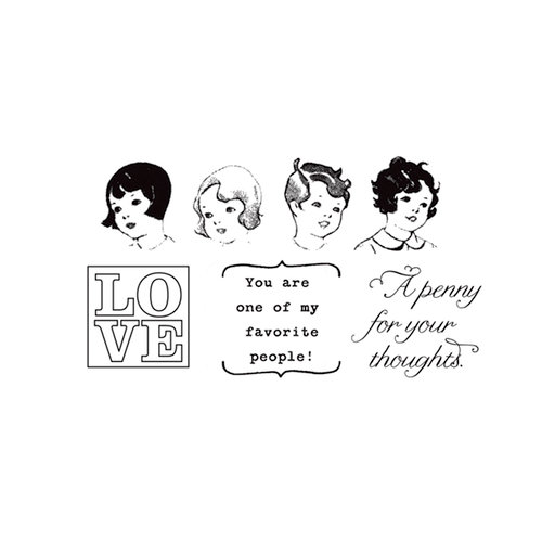 Unity Stamp - Cosmo Cricket Collection - Itty Bitty - Unmounted Rubber Stamp - Penny For Your Thoughts