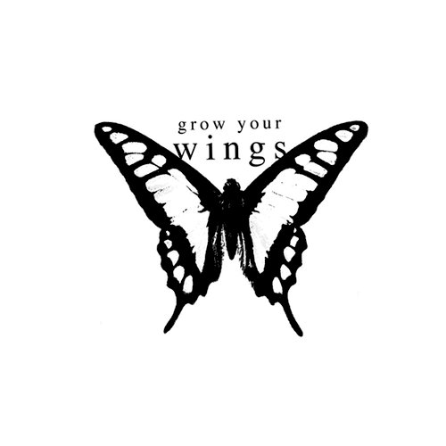 Unity Stamp - Melody Ross Collection - Itty Bitty - Unmounted Rubber Stamp - Grow Your Wings